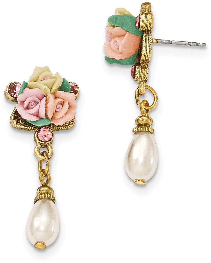 1928 Jewelry - Gold-tone Pink Crystal Porcelain Flowers Simulated Pearl Earrings