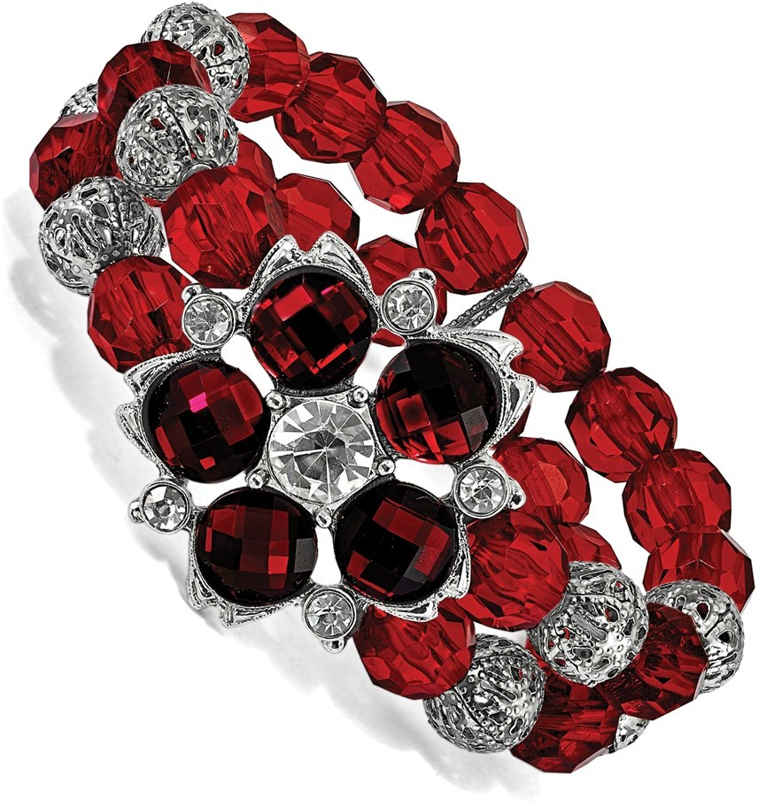 1928 Jewelry - Silver-tone Red and White Crystal Red Bead Stretch Bracelet