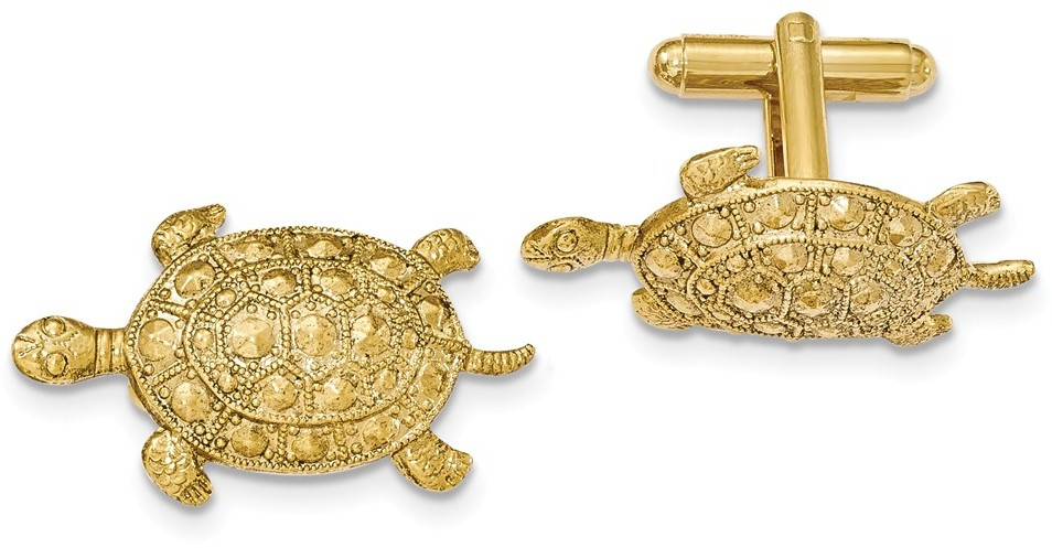 1928 Jewelry - Gold-tone Textured Turtle Style Cuff Links