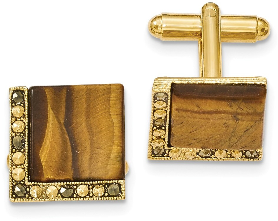 1928 Jewelry - Gold-tone Brown Stone & Marcasite Cuff Links