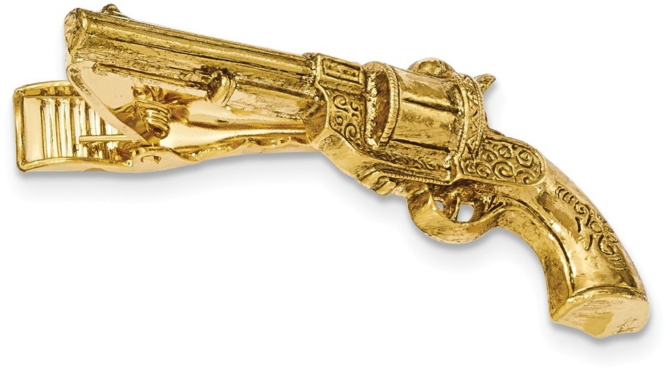 1928 Jewelry - Gold-tone Gun Textured Tie Bar