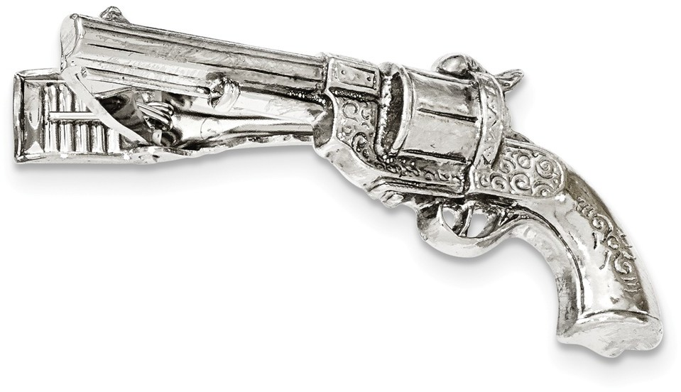1928 Jewelry - Silver-tone Gun Textured Tie Bar