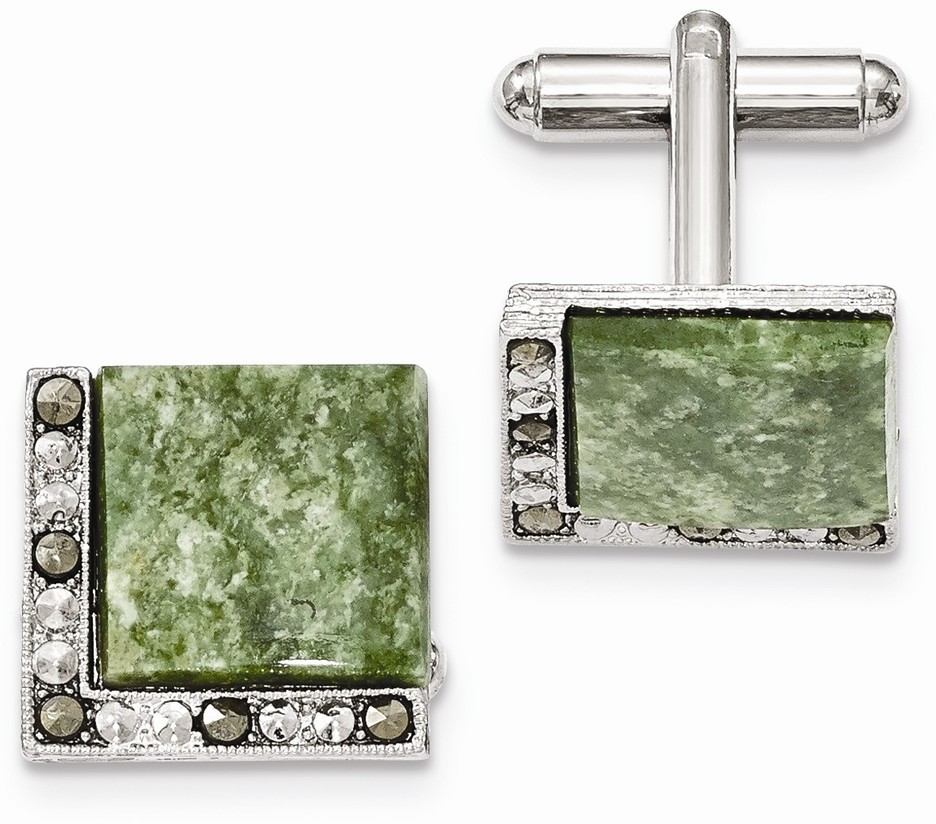1928 Jewelry - Silver-tone Green Stone & Marcasite Cuff Links