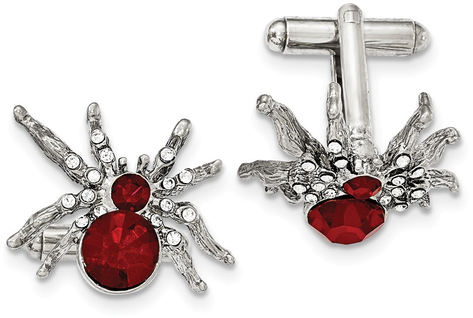 1928 Jewelry - Silver-tone Red and White Crystal Spider Cuff Links
