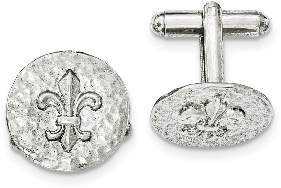 1928 Jewelry - Silver-tone Fleur de Lis Textured Round Cuff Links