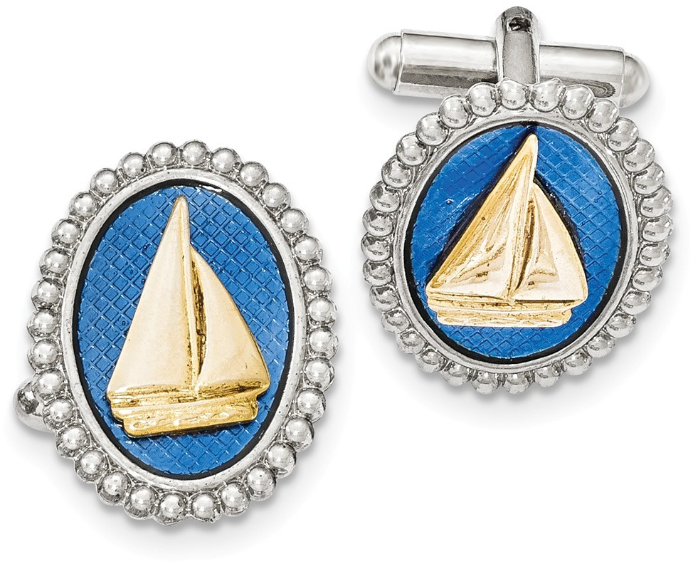 1928 Jewelry - Silver and Gold-tone Blue Enamel Sailboat Cuff Links