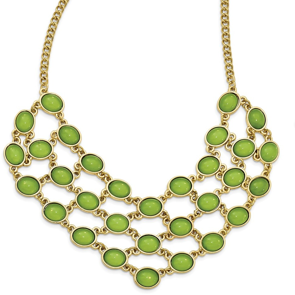 1928 Jewelry - Gold-tone Green Acrylic 16in w/ 3in ext. Bib Necklace