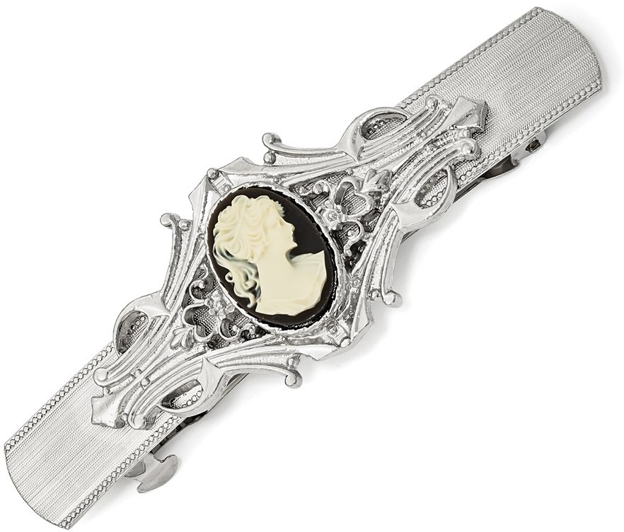 1928 Jewelry - Silver-tone Acrylic Cameo Hair Barrette