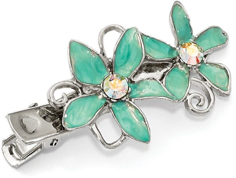 1928 Jewelry - Silver-tone Crystal & Teal Enamel Hair Clip
