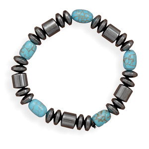 Hematite and Simulated Turquoise Stretch Bracelet - LIMITED STOCK