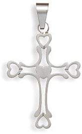Stainless Steel Cross Pendant with Hearts - LIMITED STOCK