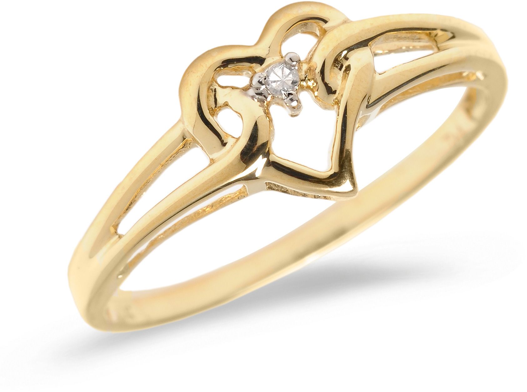 10K Yellow Gold Diamond Heart Ring (CM-B027)