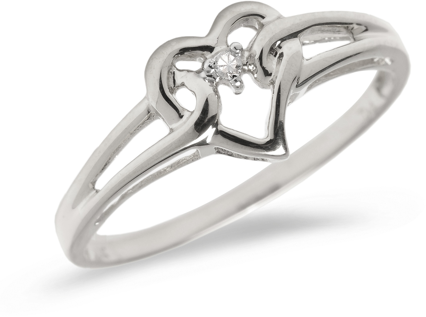 10K White Gold Diamond Heart Ring (CM-B027W)