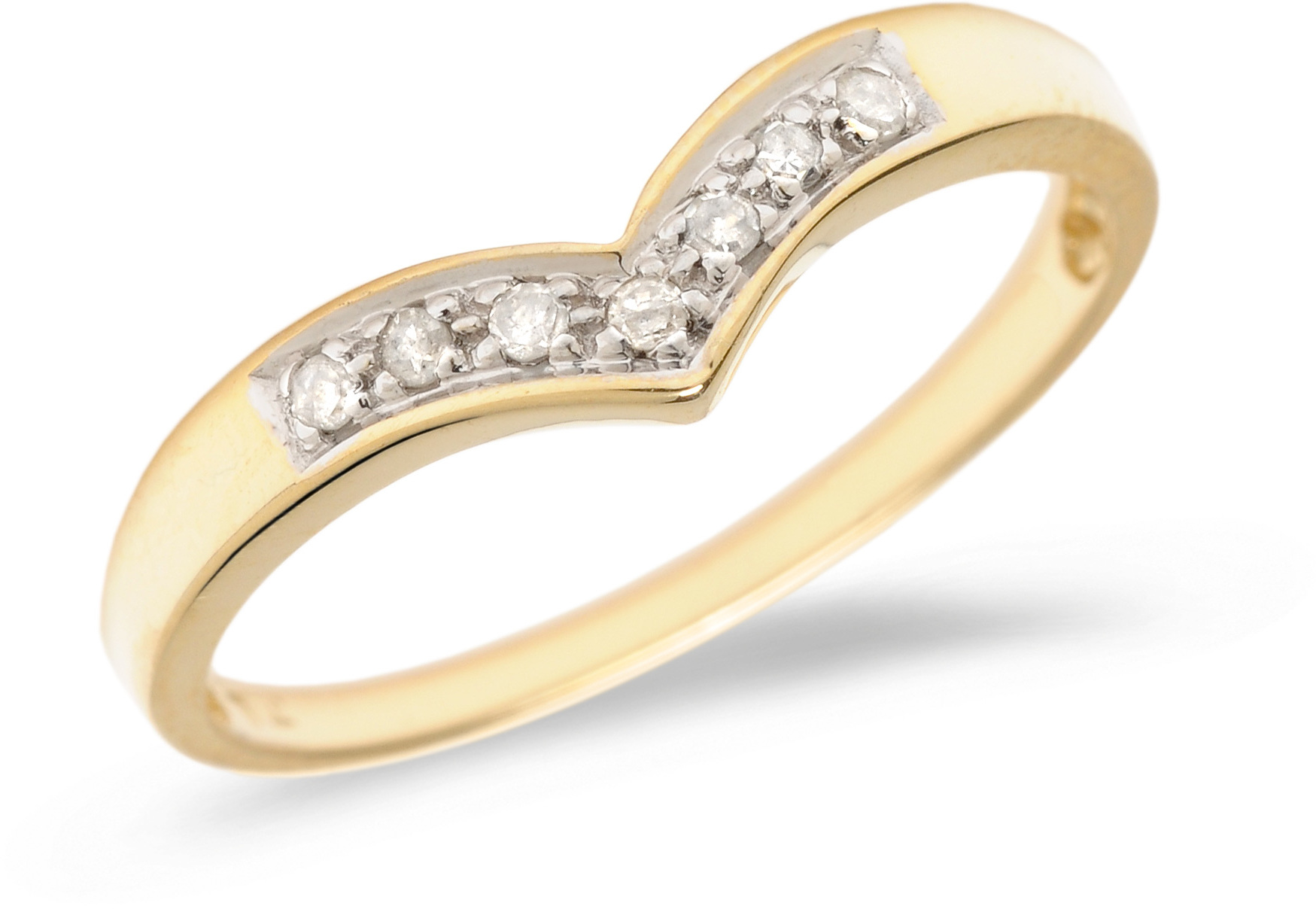 14K Yellow Gold Diamond Chevron Ring (CM-B065X)