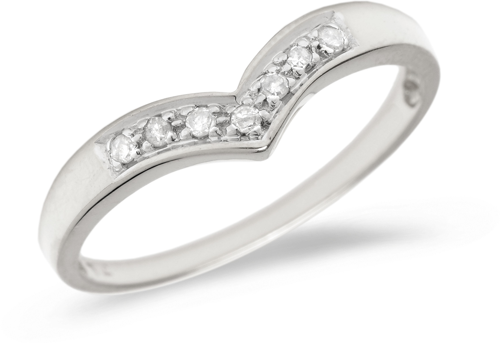 14K White Gold Diamond Chevron Ring (CM-B065XW)