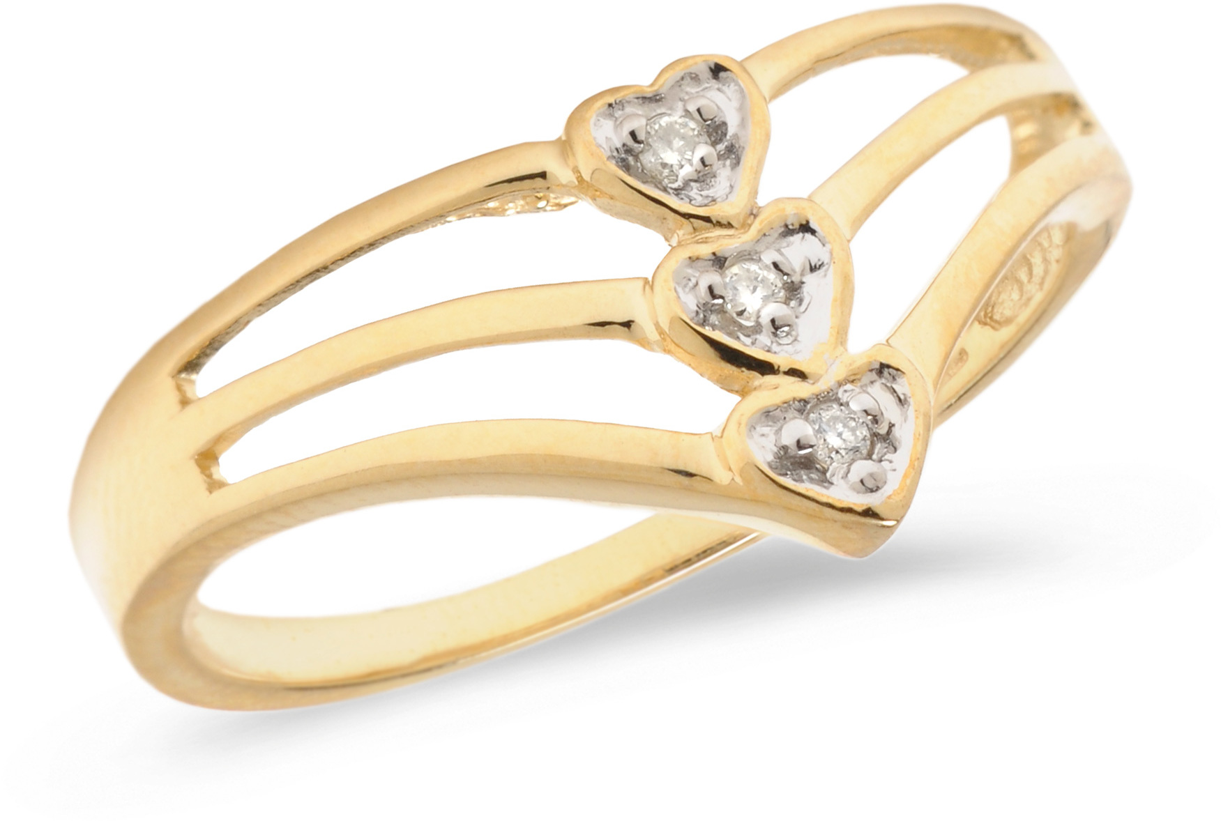 10K Yellow Gold Diamond Heart Ring (CM-B079)