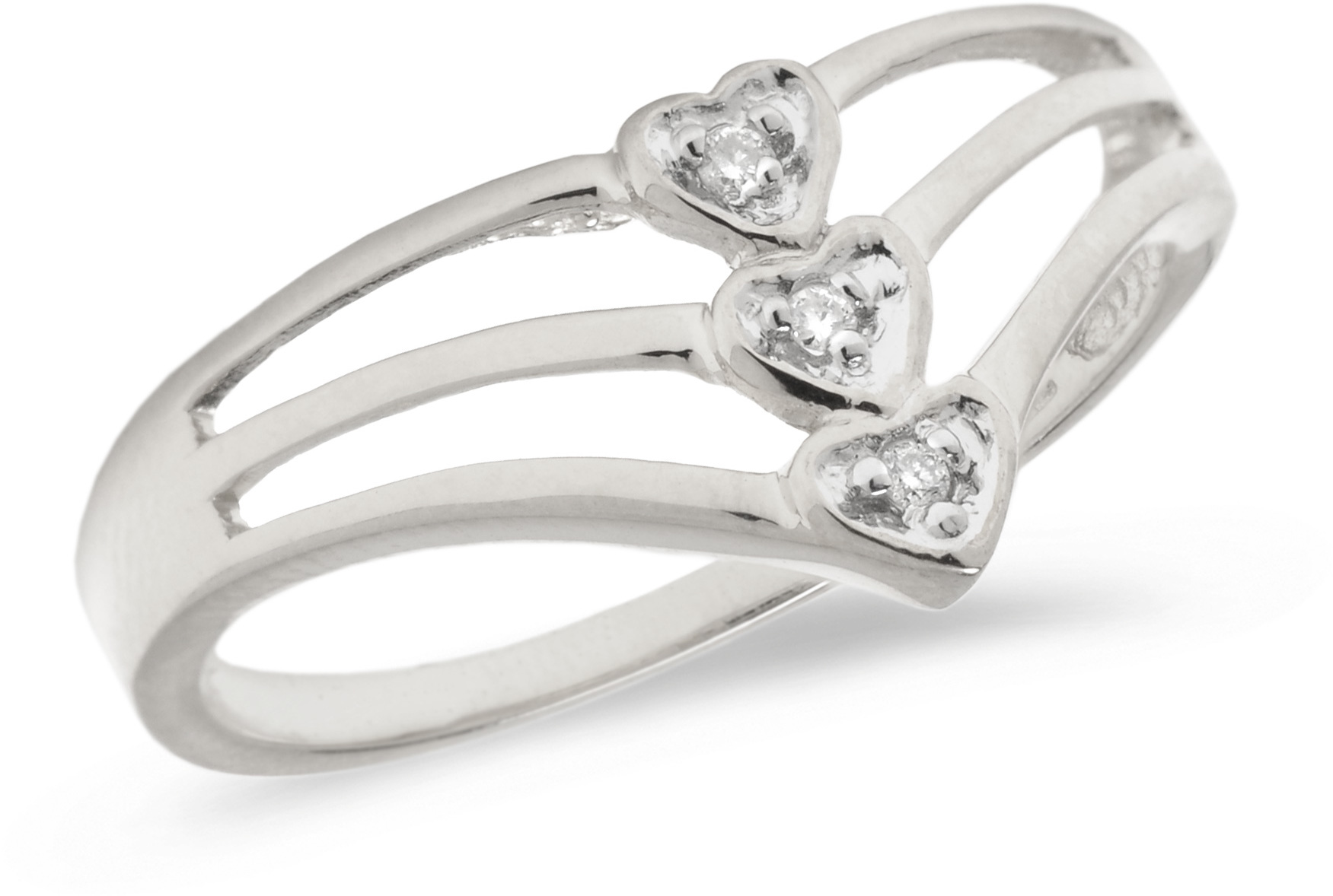 10K White Gold Diamond Heart Ring (CM-B079W)