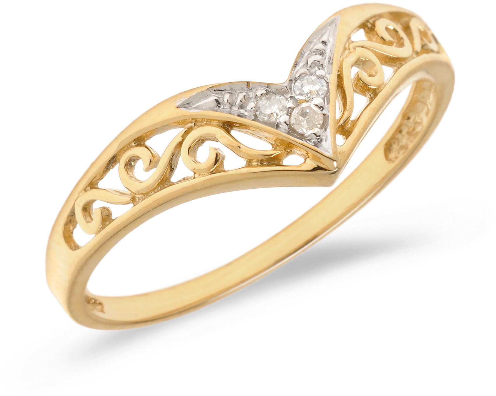10K Yellow Gold Diamond Chevron Ring (CM-B885)