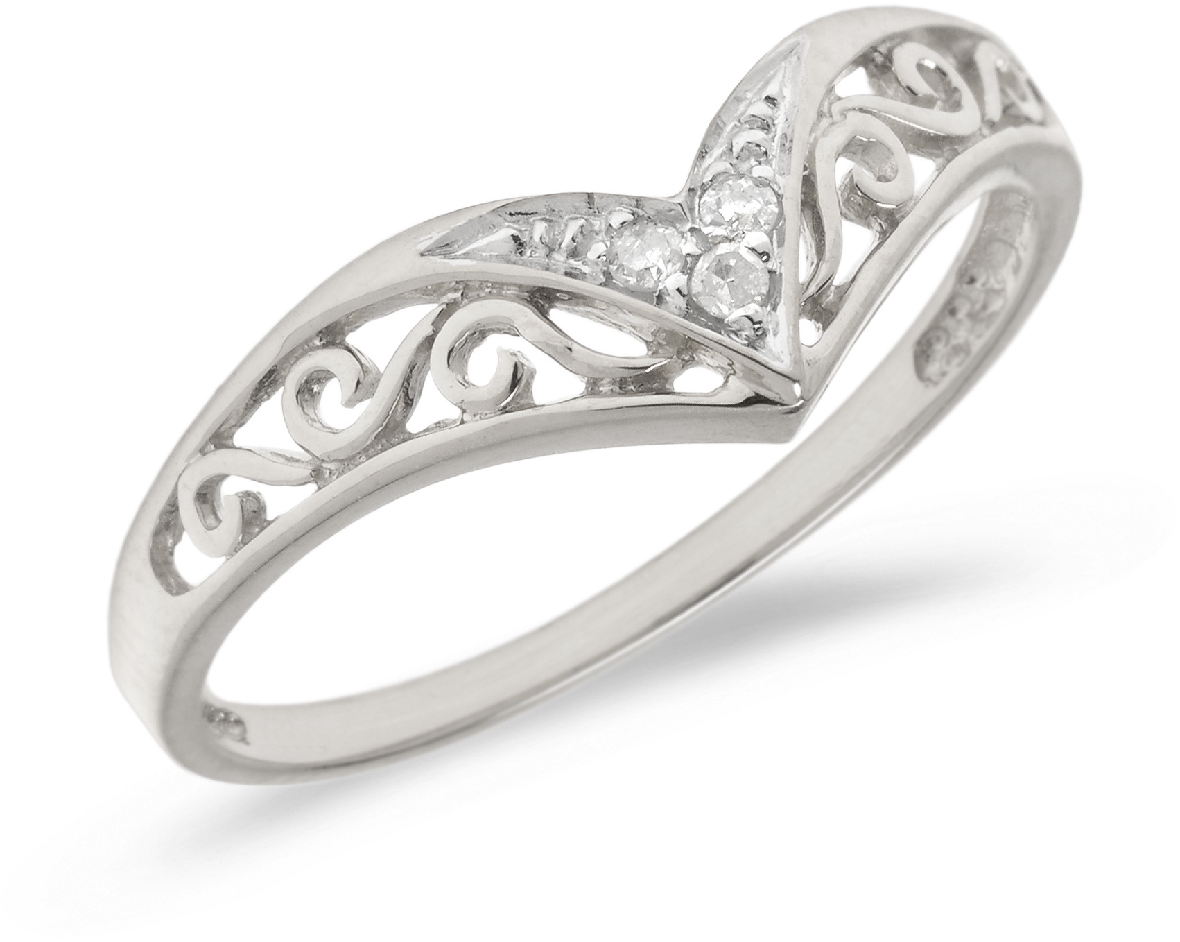10K White Gold Diamond Chevron Ring (CM-B885W)