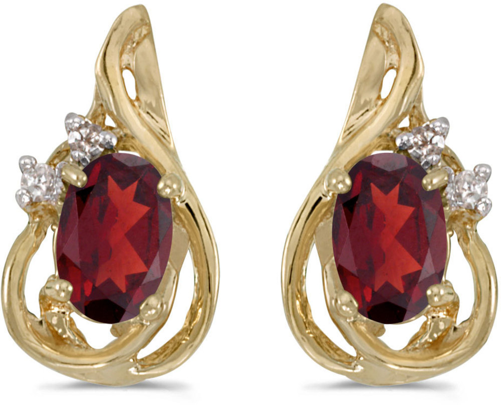14k Yellow Gold Oval Garnet And Diamond Teardrop Earrings