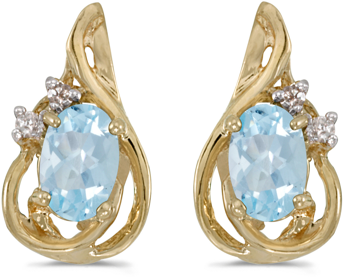 14k Yellow Gold Oval Aquamarine And Diamond Teardrop Earrings