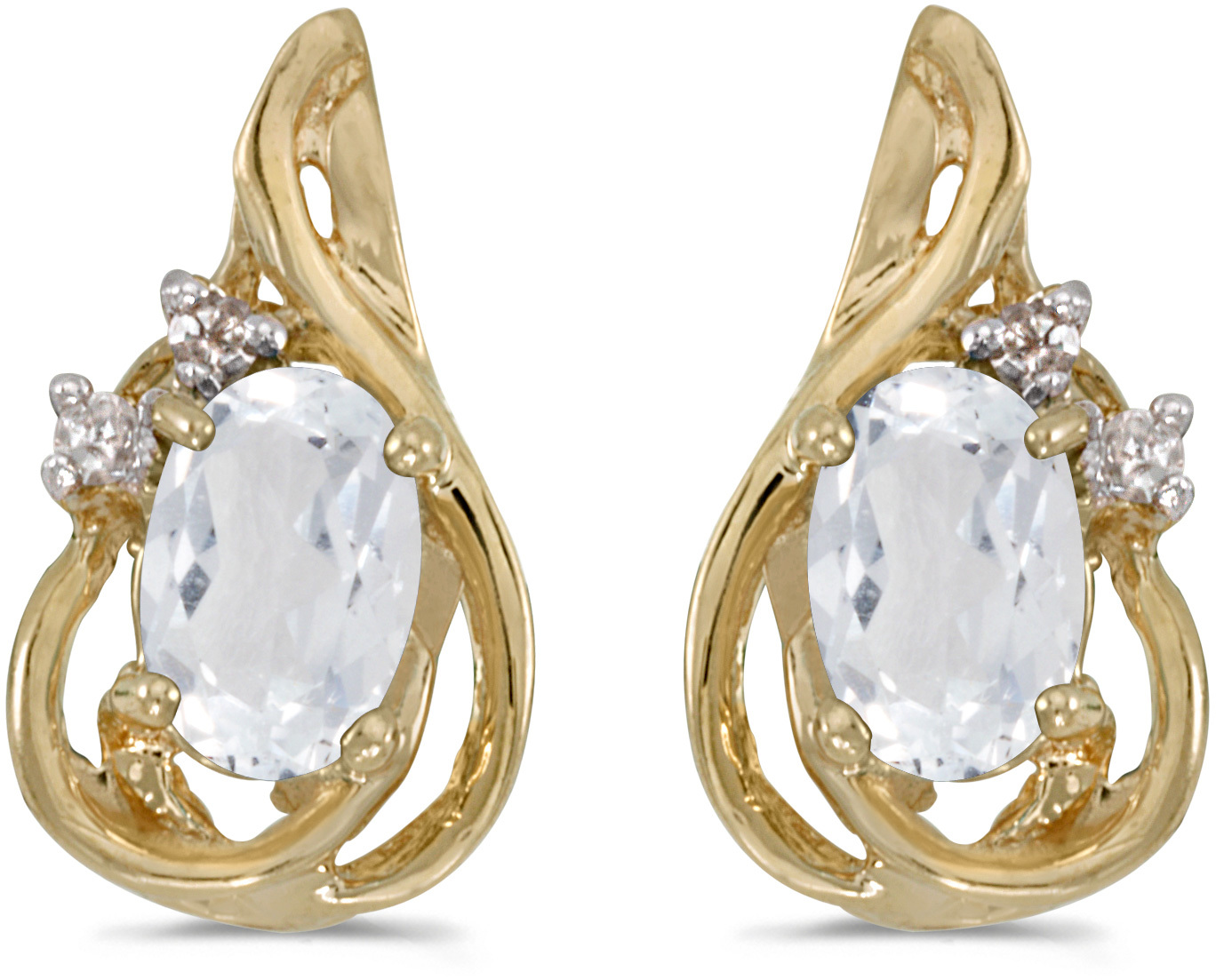 14k Yellow Gold Oval White Topaz And Diamond Teardrop Earrings