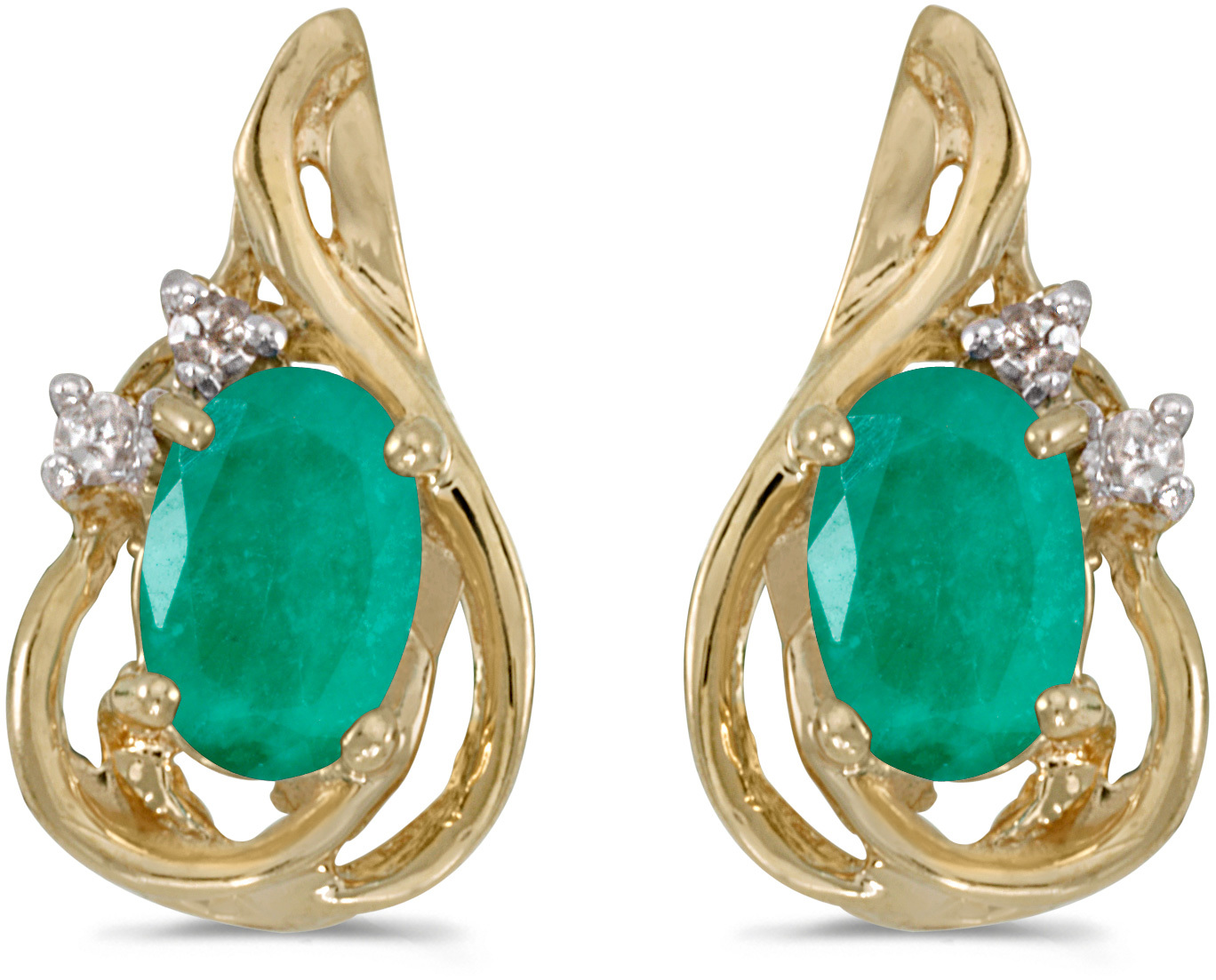 14k Yellow Gold Oval Emerald And Diamond Teardrop Earrings
