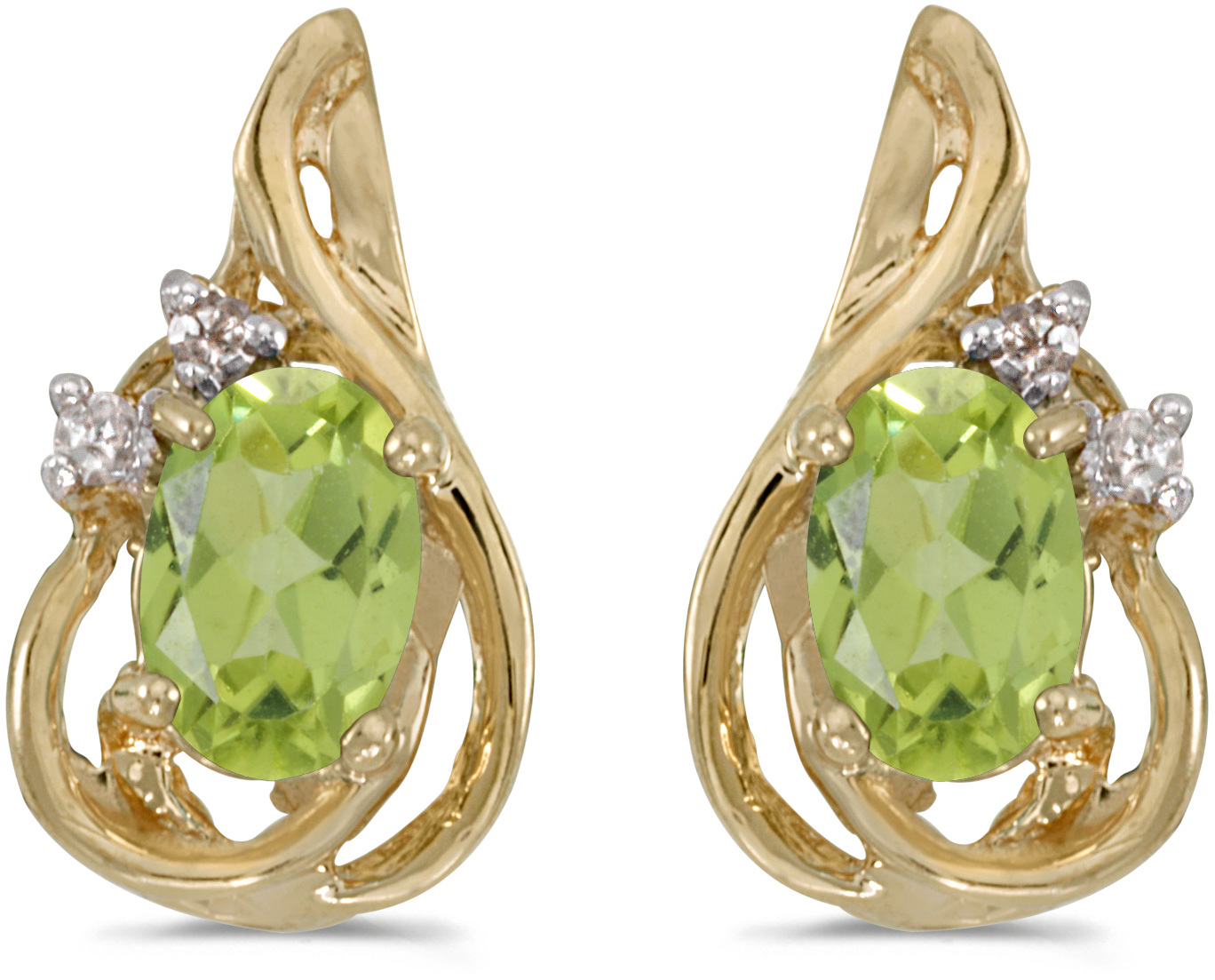 14k Yellow Gold Oval Peridot And Diamond Teardrop Earrings