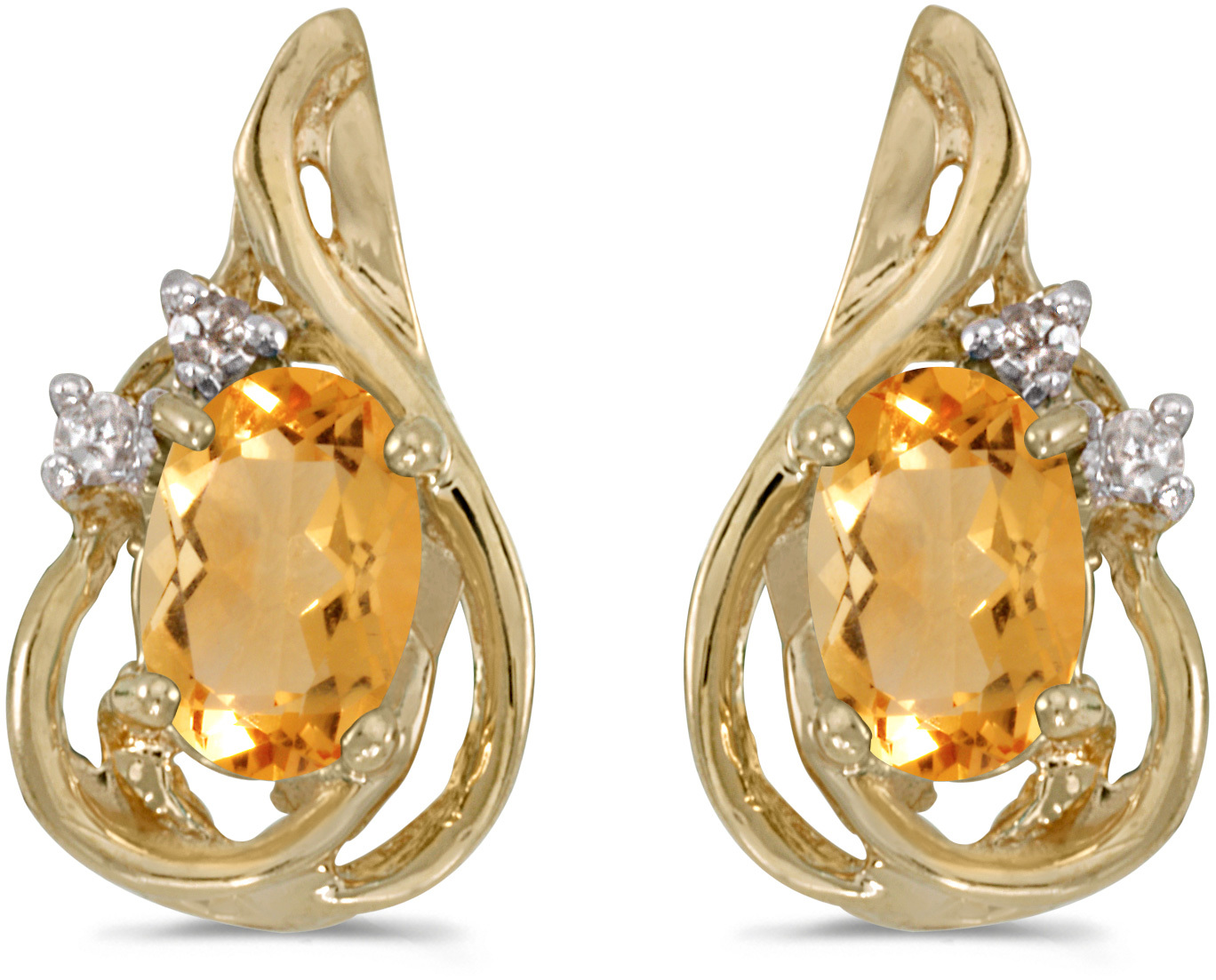 14k Yellow Gold Oval Citrine And Diamond Teardrop Earrings