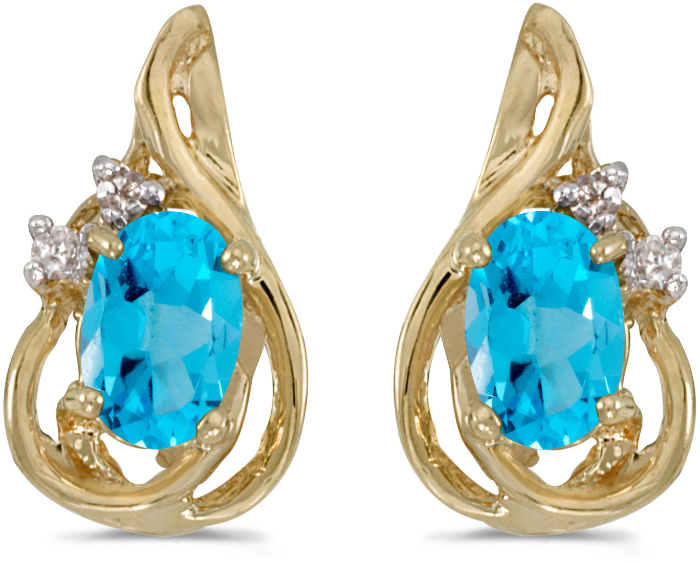 14k Yellow Gold Oval Blue Topaz And Diamond Teardrop Earrings