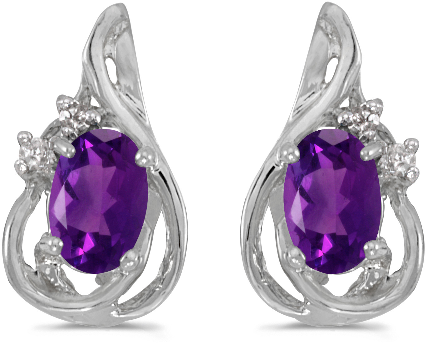14k White Gold Oval Amethyst And Diamond Teardrop Earrings