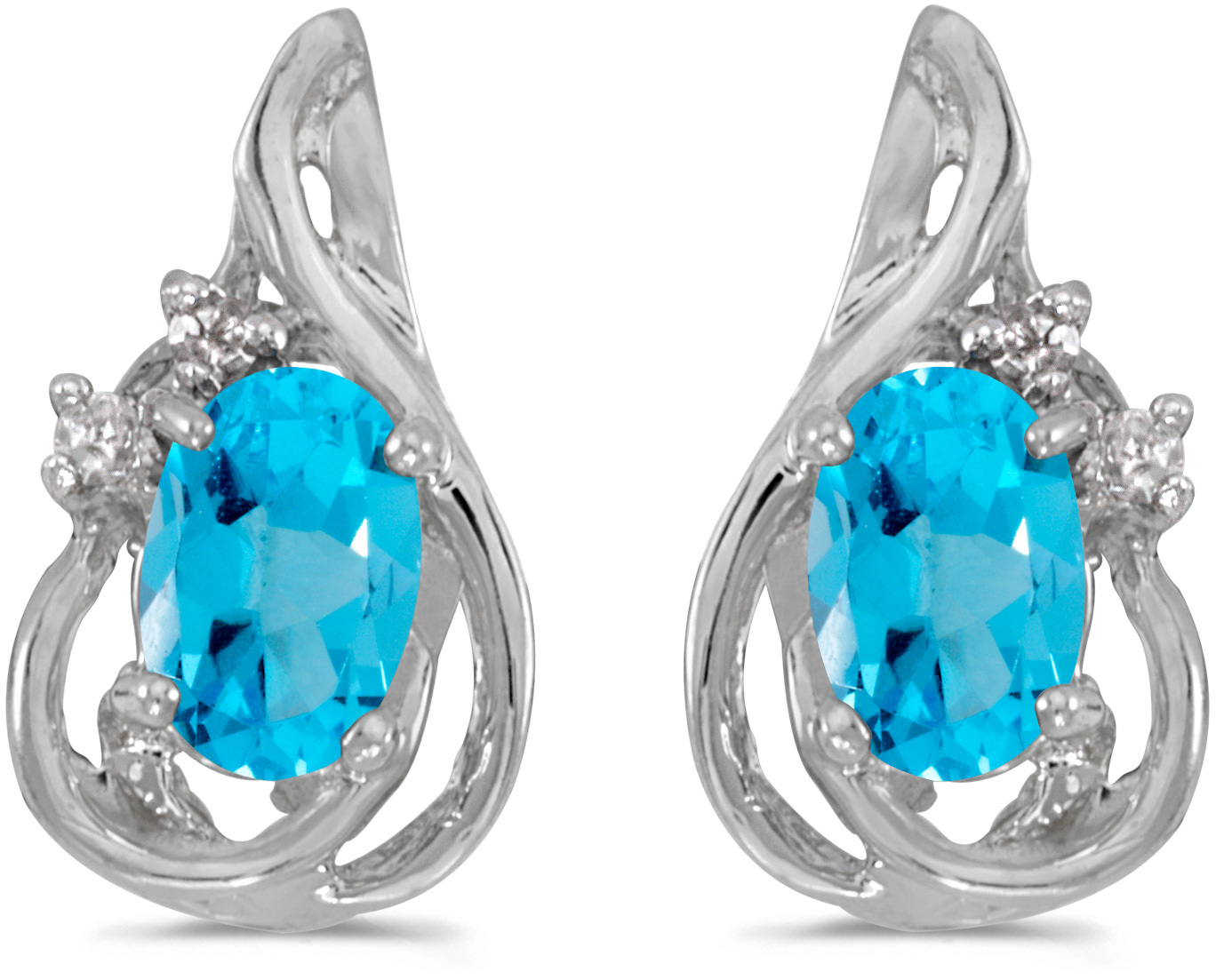 14k White Gold Oval Blue Topaz And Diamond Teardrop Earrings