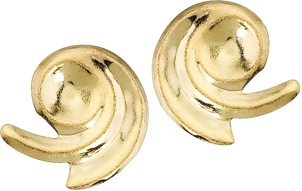 14K Yellow Gold Baby Swirl Screwback Earrings