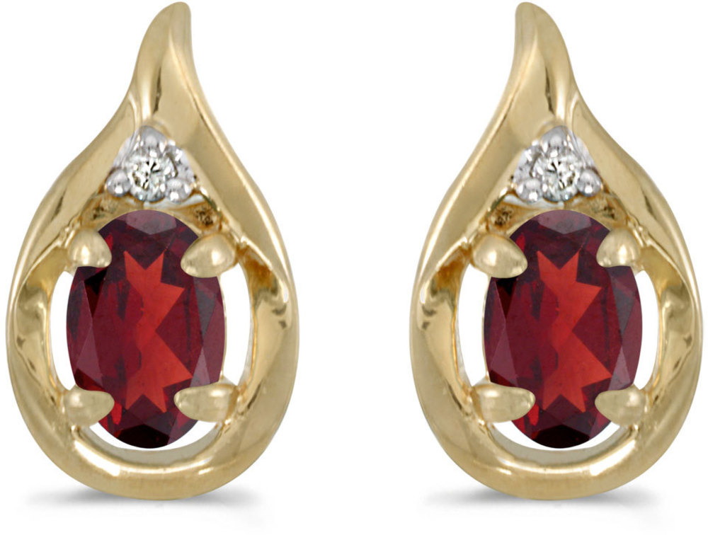 14k Yellow Gold Oval Garnet And Diamond Earrings (CM-E1241X-01)