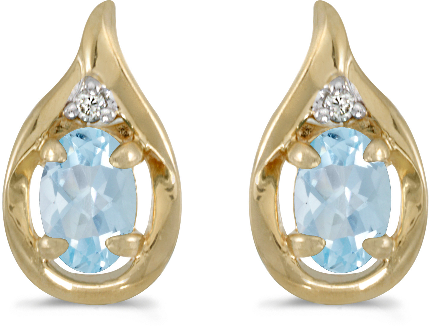 14k Yellow Gold Oval Aquamarine And Diamond Earrings (CM-E1241X-03)