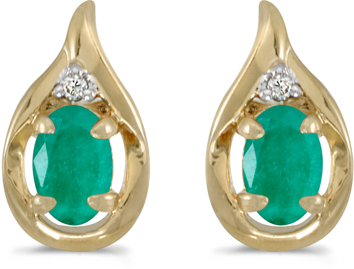 14k Yellow Gold Oval Emerald And Diamond Earrings (CM-E1241X-05)