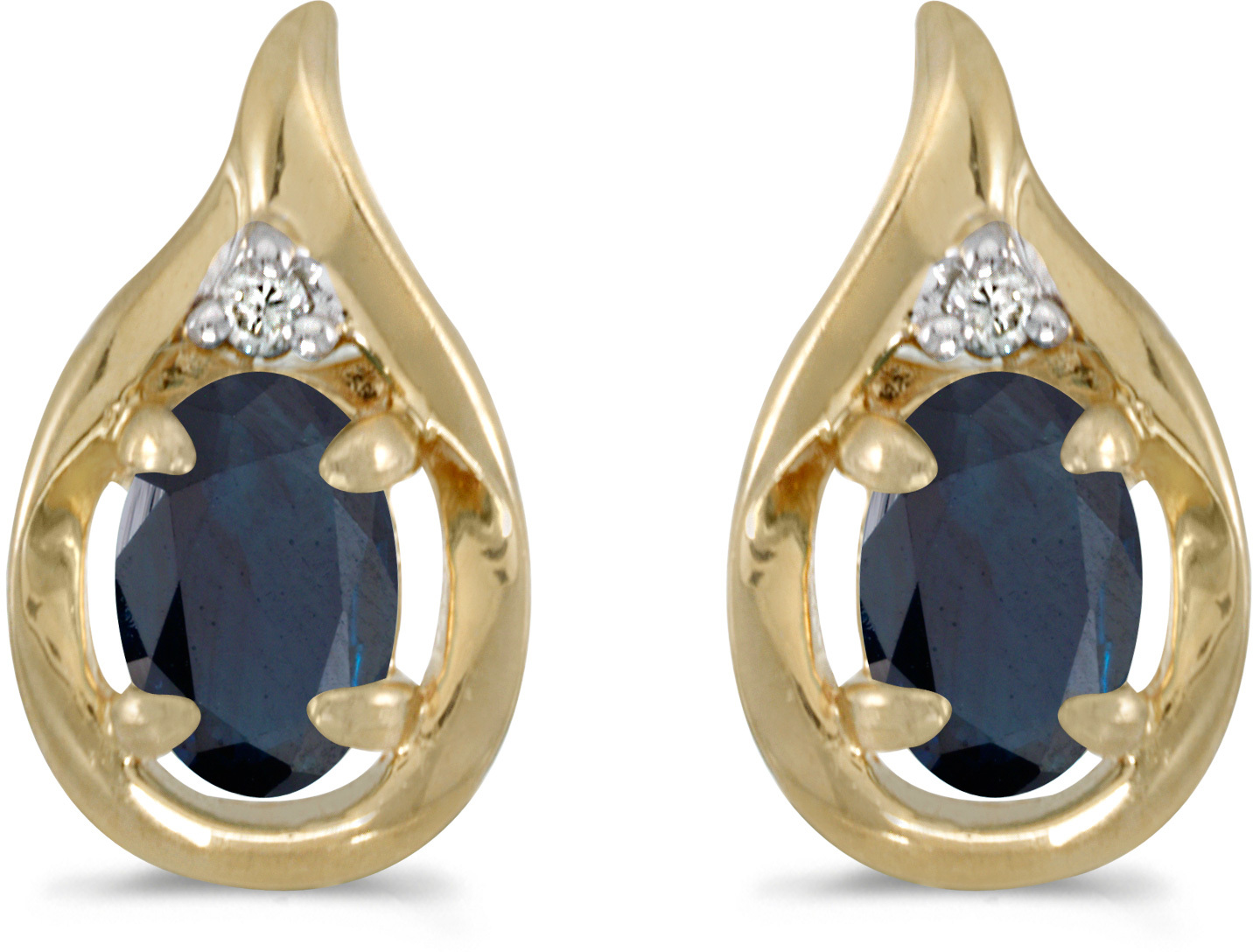 14k Yellow Gold Oval Sapphire And Diamond Earrings (CM-E1241X-09)