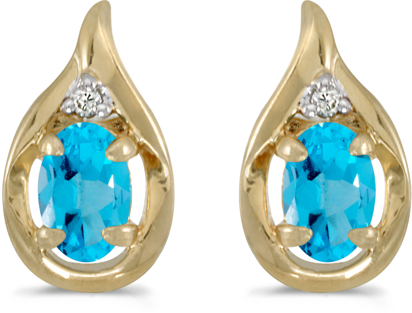 14k Yellow Gold Oval Blue Topaz And Diamond Earrings (CM-E1241X-12)
