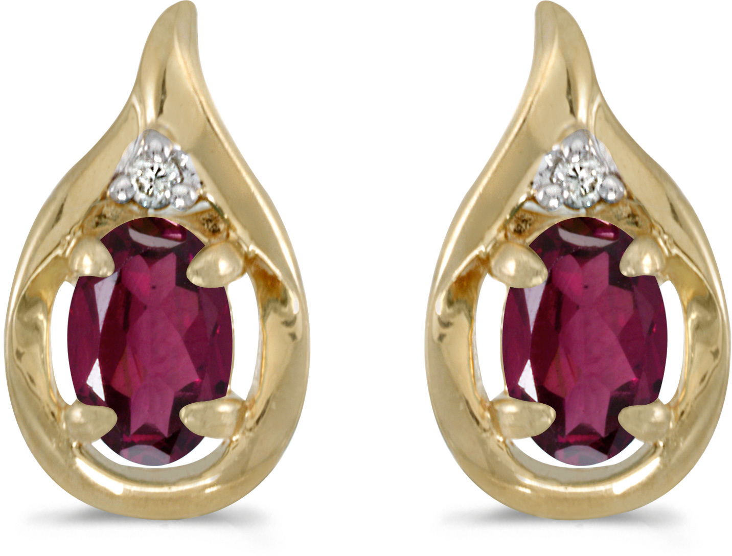 14k Yellow Gold Oval Rhodolite Garnet And Diamond Earrings (CM-E1241X-RG)