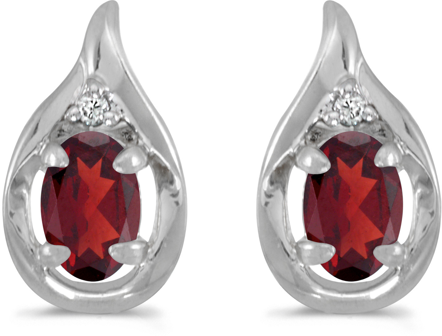 14k White Gold Oval Garnet And Diamond Earrings (CM-E1241XW-01)