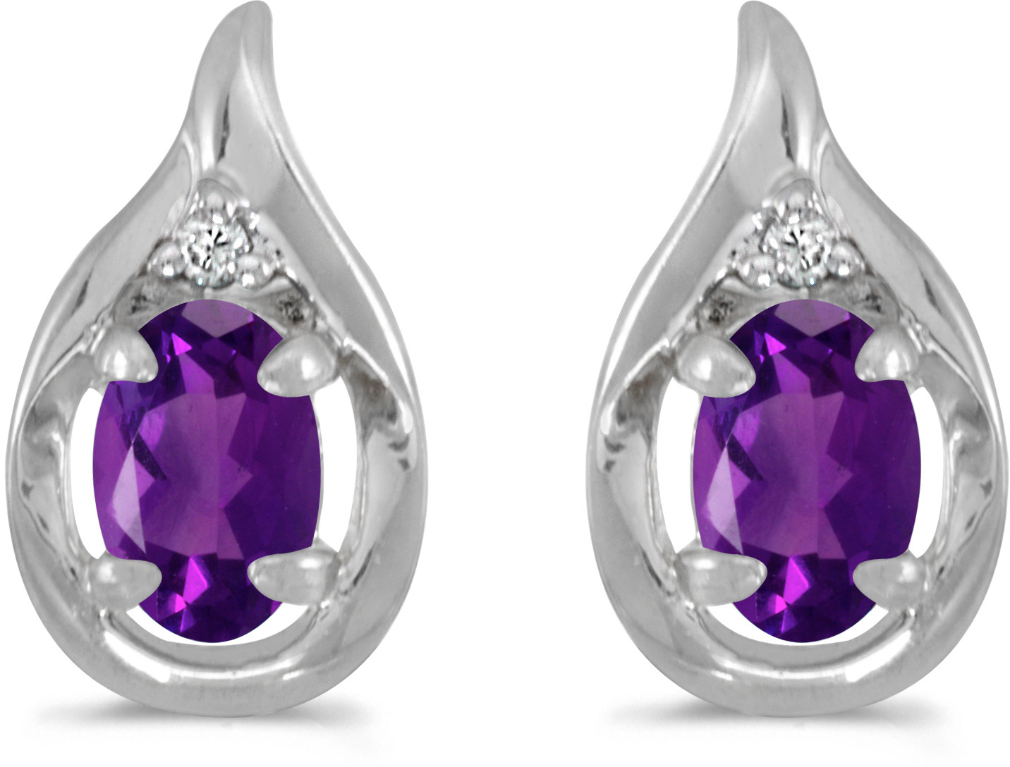 14k White Gold Oval Amethyst And Diamond Earrings (CM-E1241XW-02)