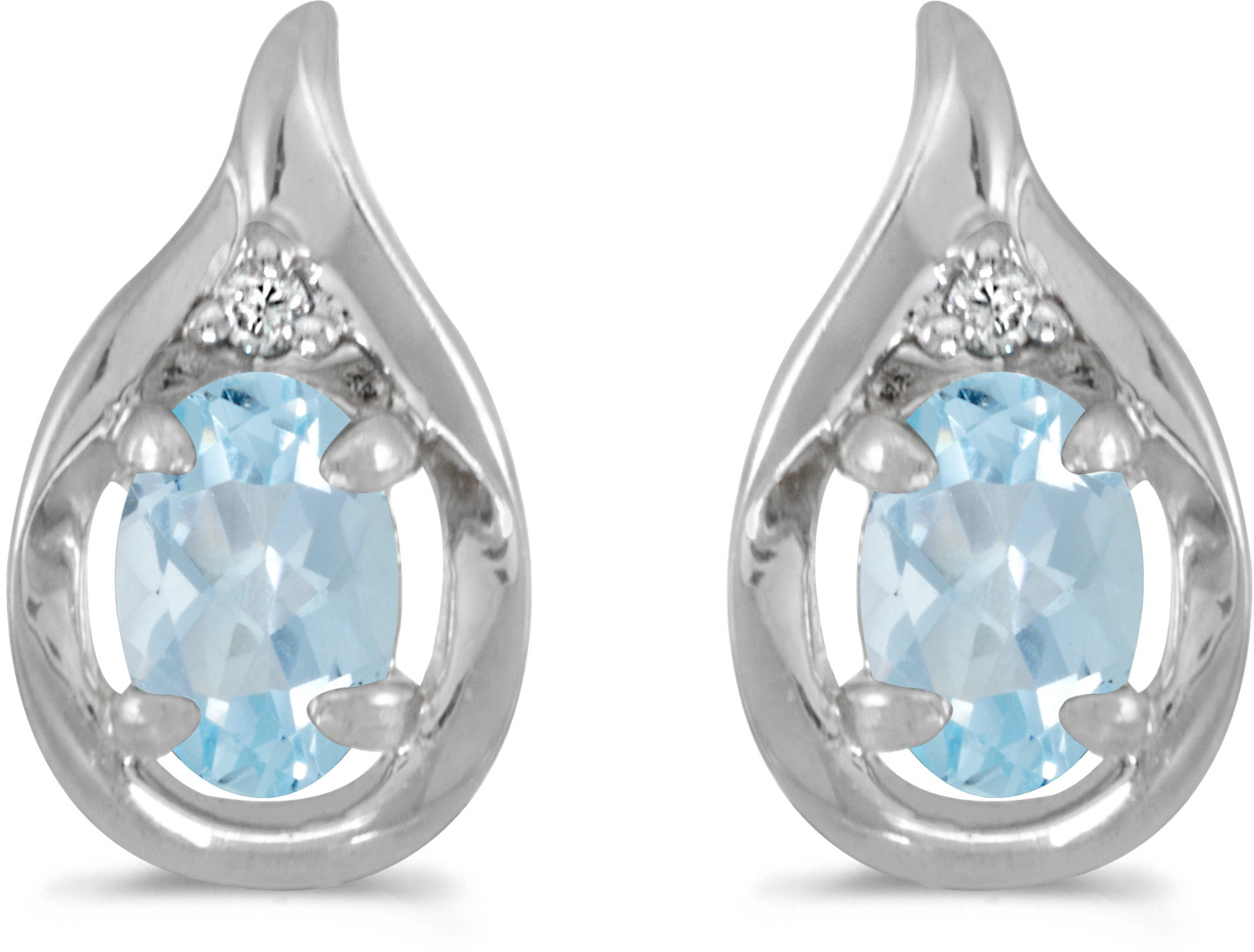 14k White Gold Oval Aquamarine And Diamond Earrings (CM-E1241XW-03)