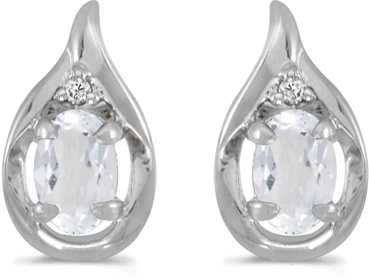 14k White Gold Oval White Topaz And Diamond Earrings (CM-E1241XW-04)