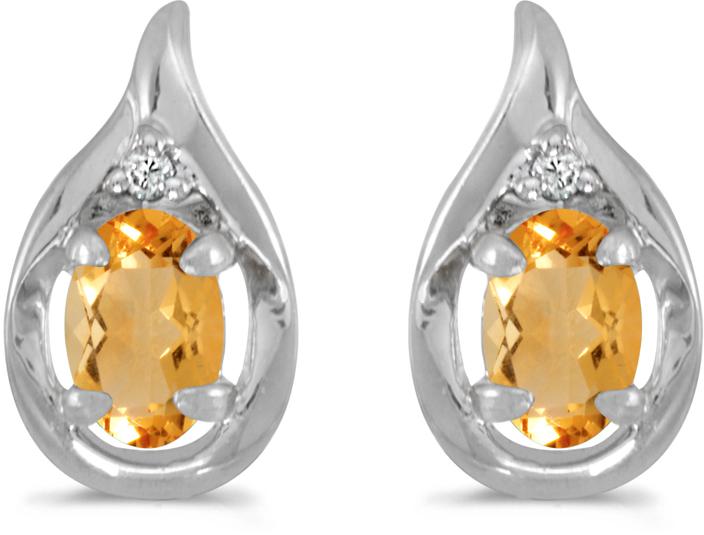 14k White Gold Oval Citrine And Diamond Earrings (CM-E1241XW-11)