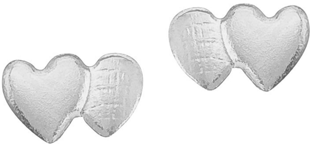14K White Gold Baby Double Heart Screwback Earrings