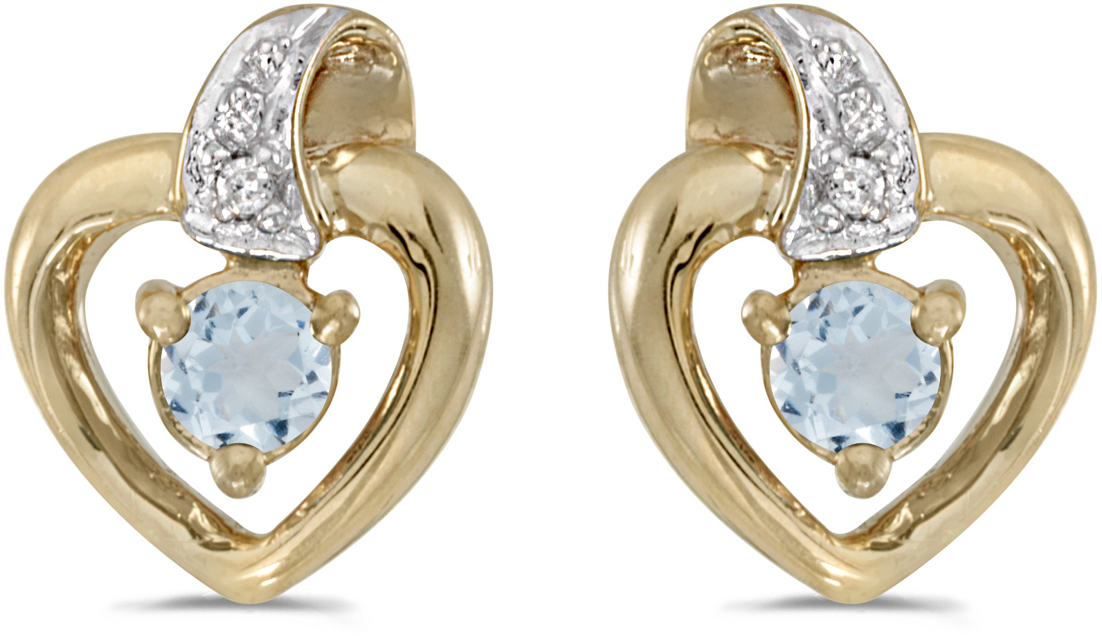 10k Yellow Gold Round Aquamarine And Diamond Heart Earrings