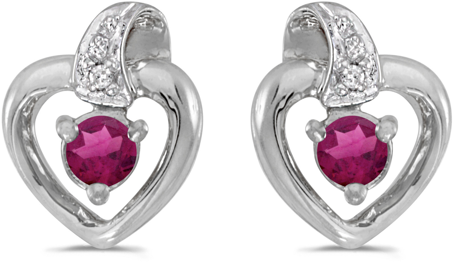 10k White Gold Round Rhodolite Garnet And Diamond Heart Earrings