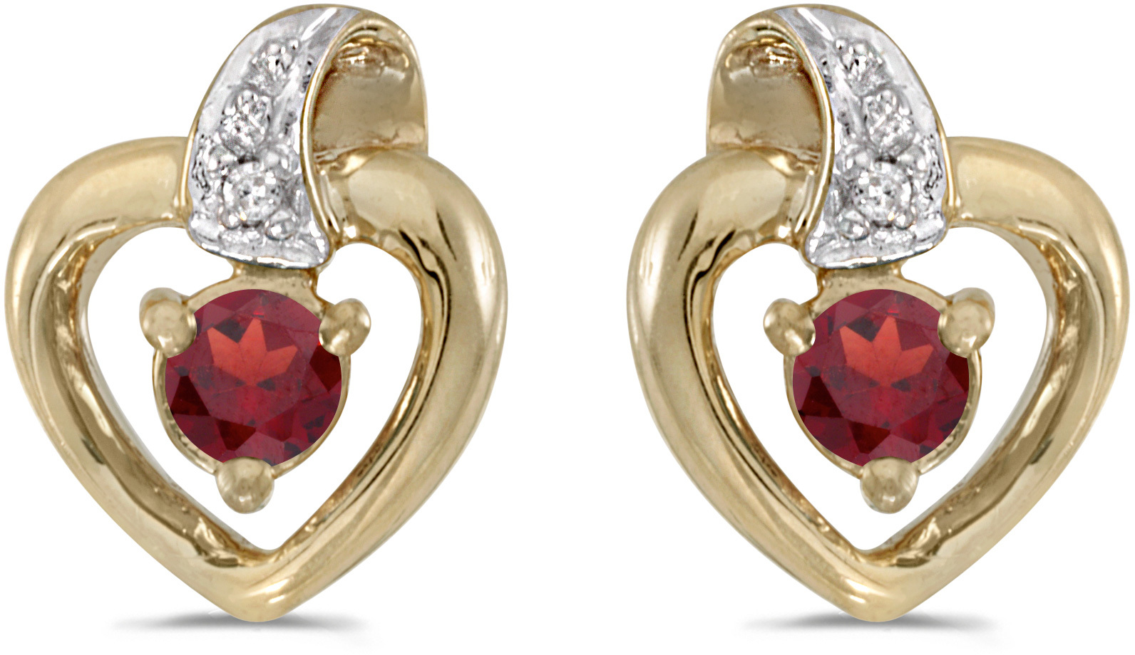 14k Yellow Gold Round Garnet And Diamond Heart Earrings