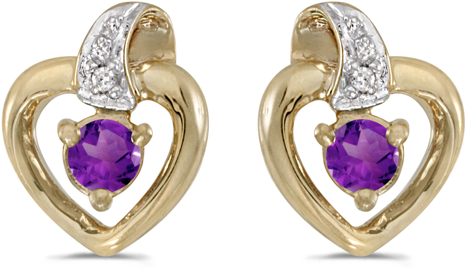 14k Yellow Gold Round Amethyst And Diamond Heart Earrings