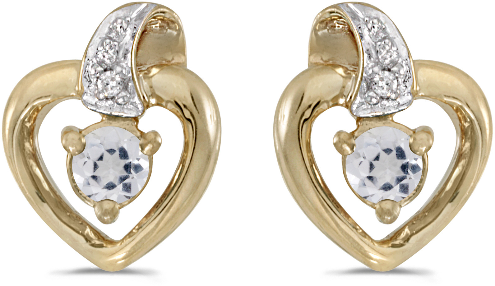 14k Yellow Gold Round White Topaz And Diamond Heart Earrings